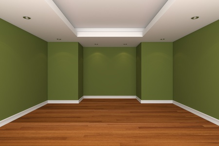 Home interior rendering with empty room decorate green color wall with wooden floors. photo