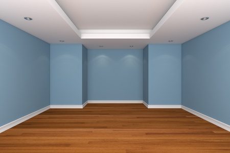 Home interior rendering with empty room decorate blue color wall with wooden floors.