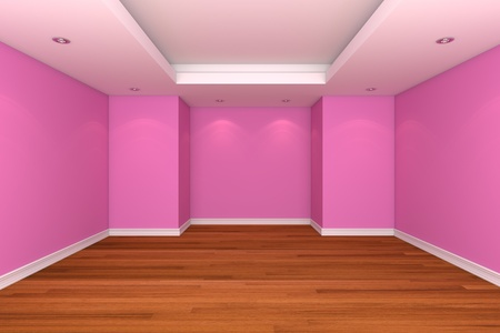 Home interior rendering with empty room decorate pink color wall with wooden floors.