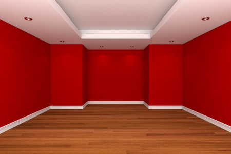 Home interior rendering with empty room decorate red color wall with wooden floors. 版權商用圖片