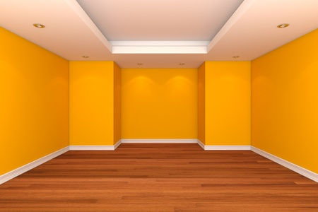 Home interior rendering with empty room decorate yellow color wall with wooden floors. Stock Photo