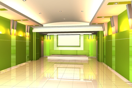 Empty room for interior seminar room color green wall with tile floor. photo