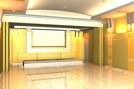 Empty room for interior seminar room color yellow wall with tile floor. photo