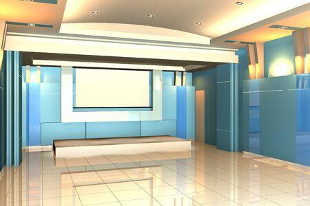 Habitaci�n vac�a de espacio interior seminario de la pared de color azul con piso de baldosas.