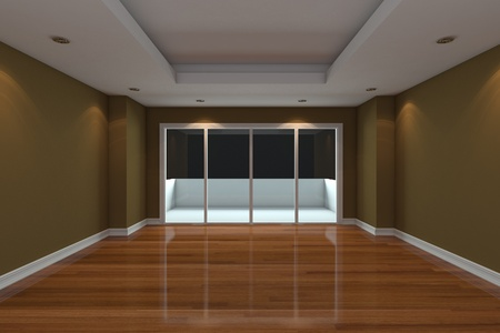 living room design: Empty Room decorated brown wall and wood floor with glass doors and terrace Stock Photo