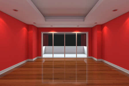 Empty Room decorated red wall and wood floor with glass doors and terrace Stock Photo - 12655783