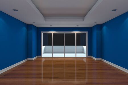 terrace: Empty Room decorated blue wall and wood floor with glass doors and terrace Stock Photo