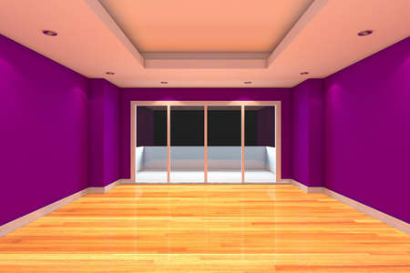 terrace: Empty Room decorated purple wall and wood floor with glass doors and terrace