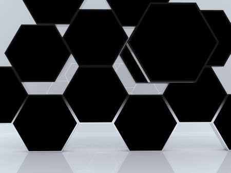 3D blank abstract black hexagon box display new design aluminum frame template for design work, on white background. Stock Photo - 12655781