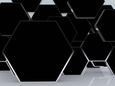 흰색 배경에 디자인 작업을위한 3D 빈 추상 검은 육각 상자 표시 새로운 디자인의 알루미늄 프레임 템플릿.