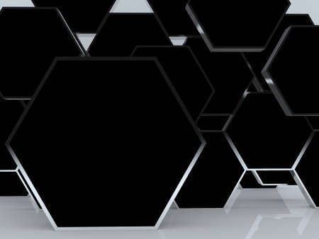 3D blank abstract black hexagon box display new design aluminum frame template for design work, on white background. Stock Photo