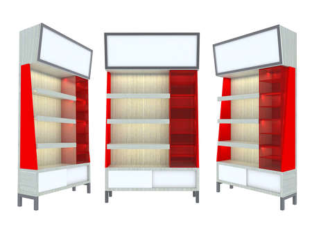 Empty wood Shelf red modern design for Ad Stock Photo - 12655822