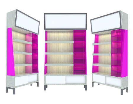 Empty wood Shelf pink modern design for Ad Stock Photo - 12655824