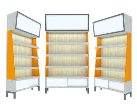 adboard: Empty wood Shelf orange modern design for Ad