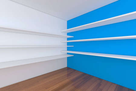 Shelves with empty room. Empty Room decorated with abstract wall and wood floor.  photo