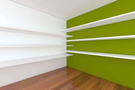 Shelves with empty room. Empty Room decorated with abstract wall and wood floor. Stock Photo - 12655813