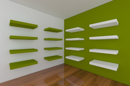 Shelves with empty green room. Empty Room decorated with abstract wall and wood floor.  Stock Photo - 12655842