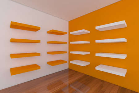 Shelves with empty orange room. Empty Room decorated with abstract wall and wood floor.  photo