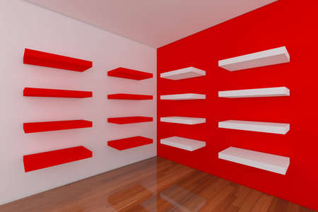Shelves With Empty Orange Room. Empty Room Decorated With Abstract ...