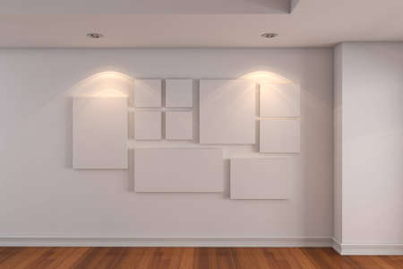 Empty interior room Gallery The picture on the white wall  Decorated color wall and wood floor with empty room   Stock Photo - 12655913