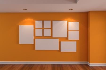 빈 방 컬러 벽과 나무 바닥 장식 오렌지 벽에 빈 인테리어 룸 갤러리 사진