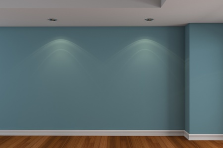 Home interior rendering with empty room blue color wall and decorated with wooden floors.