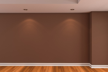 Home interior rendering with empty room brown color wall and decorated with wooden floors. Stock Photo