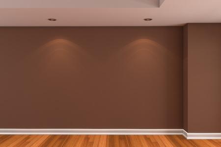 Inicio rendering interior con sala vac�a de color marr�n pared y decoradas con suelos de madera. Foto de archivo