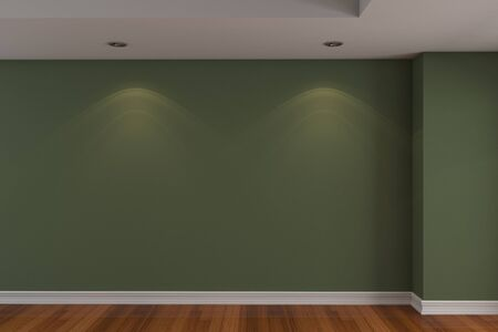 Home interior rendering with empty room dark green color wall and decorated with wooden floors. photo