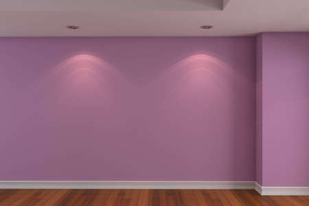 Home interior rendering with empty room dark pink color wall and decorated with wooden floors. photo