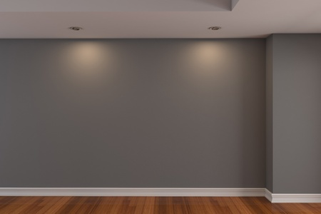 Home interior rendering with empty room gray color wall and decorated with wooden floors. Stock Photo