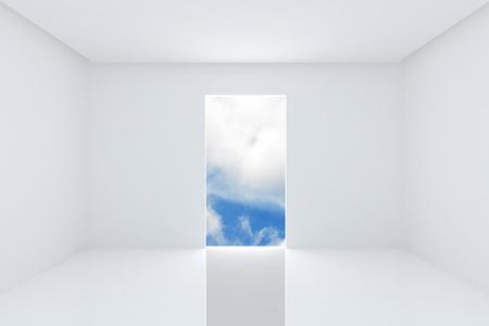 Soluci�n para las nuevas ideas, Local interior de color blanco en el cielo azul Foto de archivo