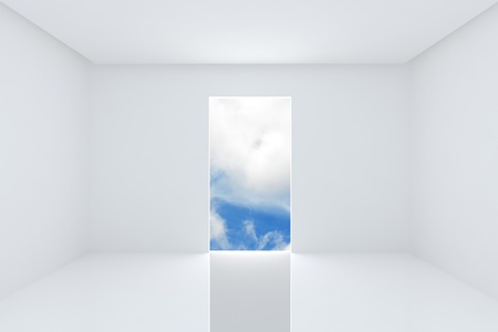 Solution for new ideas, Empty room white color interior on blue sky 版權商用圖片