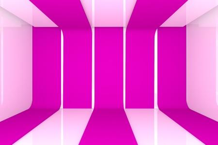 Interior de una casa de renderizado 3D con el color de pared vac�a habitaci�n de color rosa