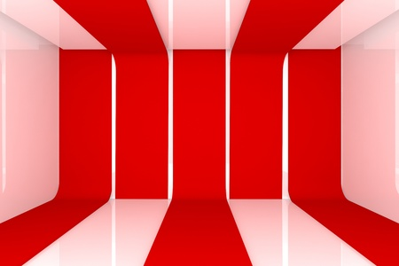 Home interior 3D rendering with empty room red color wall  Stock Photo