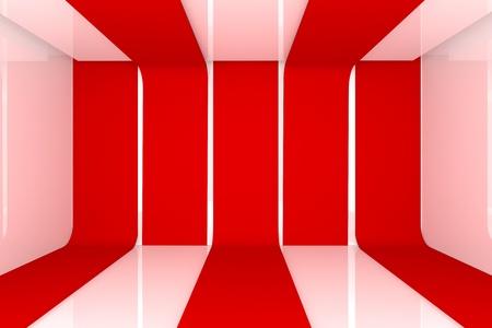 Interior de una casa de renderizado 3D con el vac�o de color sala de pared de color rojo