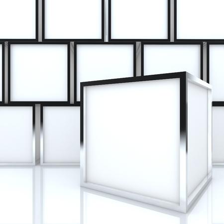 affichage publicitaire: 3D vierge abstraite affichage bo�te blanche nouvelle conception du ch�ssis en aluminium mod�le pour les travaux de conception, sur fond blanc Banque d'images