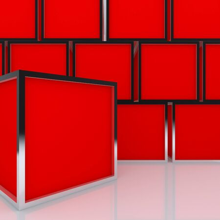3D blank abstract red box display new design aluminum frame template for design work, on white background  Stock Photo - 12939250