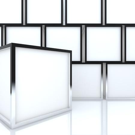 3D 빈 추상 흰색 상자 흰색 배경에 디자인 작업을위한 새로운 디자인의 알루미늄 프레임 템플릿을 표시