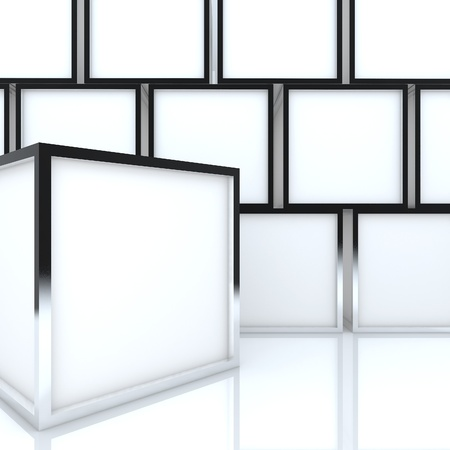 3D blank abstract white box display new design aluminum frame template for design work, on white background  Foto de archivo
