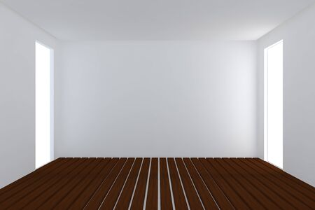 Home interior rendering with empty room white color wall and decorated with wooden floors. Stock Photo - 12939389