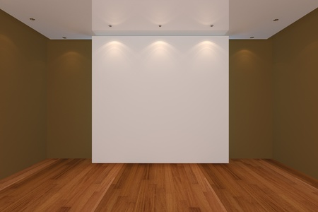 Home interior rendering with empty room brown color wall and wood floor for AD. photo
