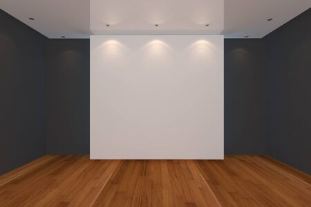 Home interior rendering with empty room black color wall and wood floor for AD. photo