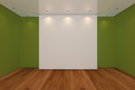 Home interior rendering with empty room green color wall and wood floor for AD. photo