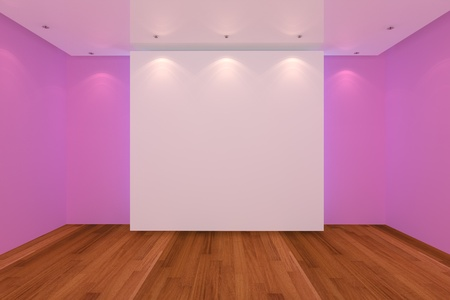 Home interior rendering with empty room pink color wall and wood floor for AD. Stock Photo - 12939397