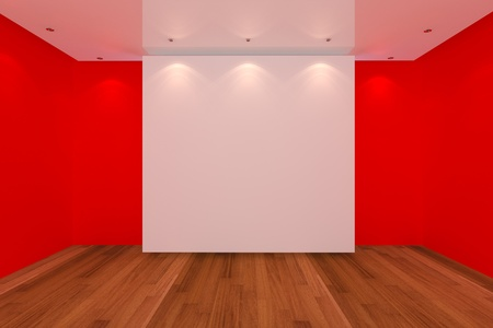 Home interior rendering with empty room red color wall and wood floor for AD. photo