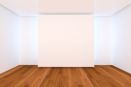 Home interior rendering with empty room color wall and wood floor for AD. photo