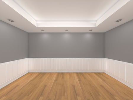 Home inter rendering with empty room color wall and decorated with wooden floors   Stock Photo - 13050142