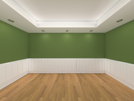 Home inter rendering with empty room color wall and decorated with wooden floors   Stock Photo - 13050137