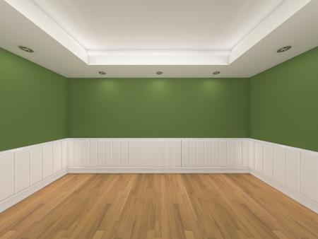 La representaci�n interior de una casa con pared vac�a sala de color y decorado con suelos de madera